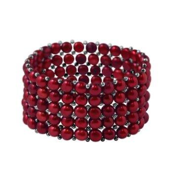 Bratara fashion hand made din 5 randuri perle veritabile de apa dulce BRACBR0095CHE 3