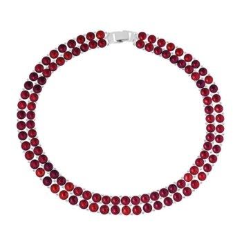 Colier fashion hand made din 2 randuri de perle veritabile de apa dulce CACNK0092RCHE 6