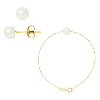Set bijuterii hand made din aur galben cu perle veritabile de apa dulce Isabelle 9