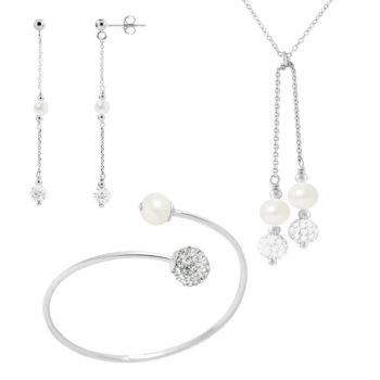 Set bijuterii hand made din perle veritabile de apa dulce,cristal alb si argint 925 Aime 4