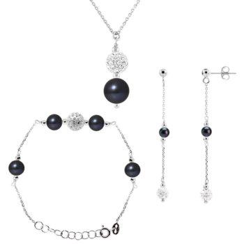 Set bijuterii hand made din argint 925, perle veritabile de apa dulce si cristal alb Monique 3