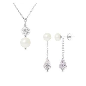 Set bijuterii hand made din argint 925, perle veritabile de apa dulce si cristal alb Camille 11