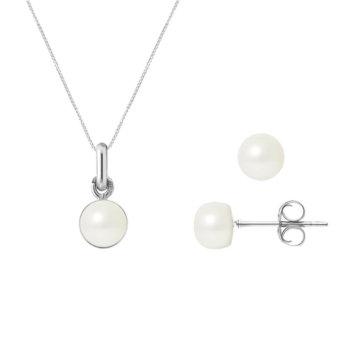 Set bijuterii hand made din aur alb si perle veritabile de apa dulce Lola 2