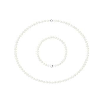 Set bijuterii hand made din perle veritabile de apa dulce si aur alb Patricia 2