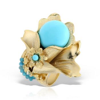 Inel hand made antichizat accesorizat cu perle naturale si pietre semipretioase MHAN264 8