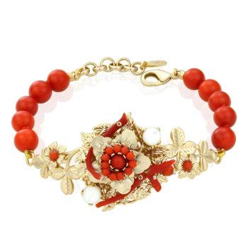 Bratara hand made antichizata accesorizata cu perle naturale si coral rosu MHBR261 13