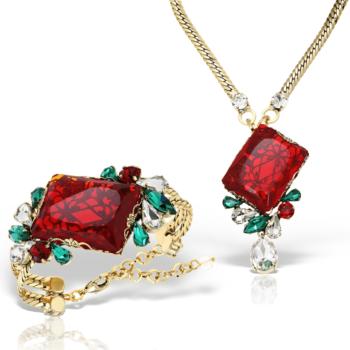 Set bijuterii hand made antichizate placate cu aur de 24K Rosso 30