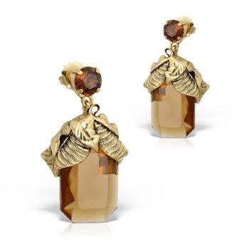 Cercei handmade antichizati placati cu aur de 24K ECC4248BR 12
