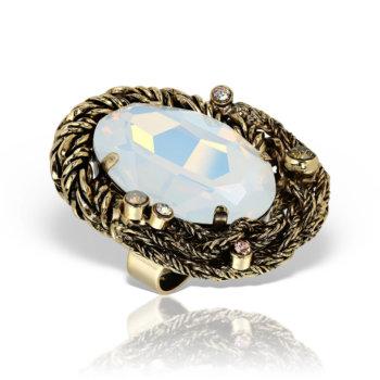 Inel handmade antichizat placat cu aur de 24K AN5704WH 11
