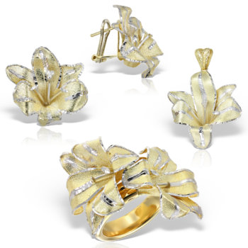 Set din aur 14k model floare Flower 1