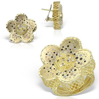 Set bijuterii din aur 14k model floare Geea 6