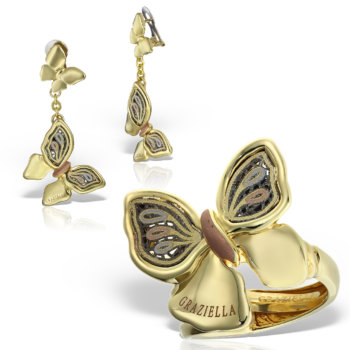 Set bijuterii aur 14K model fluture Luxenza 2 16