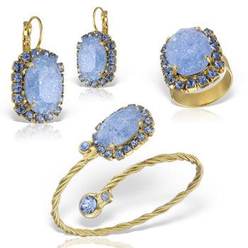 Set bijuterii hand made antichizate placate cu aur de 24K Glitter 29