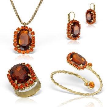 Set bijuterii hand made antichizate placate cu aur de 24K Glamy III 30