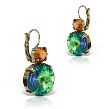 Cercei handmade antichizati accesorizati cu cristale Swarovski vintage cu lumina vitrata ECC4169SWGR 13