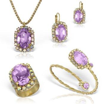 Set bijuterii hand made antichizate placate cu aur de 24K Glamy V 28