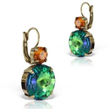 Cercei handmade antichizati accesorizati cu cristale Swarovski vintage cu lumina vitrata ECC4170BISGR 14