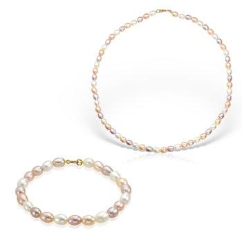 Set bijuterii hand made din perle veritabile de apa dulce si aur galben Nicole 43