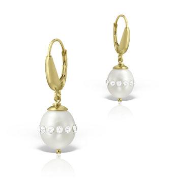 Cercei din aur galben 14K si perle naturale UB5 15