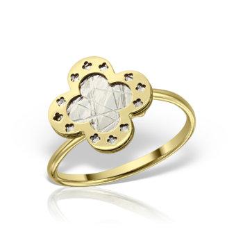 Inel din aur galben si alb 14K AN322 6