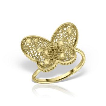 Inel model fluture aur galben 14K AN232 12