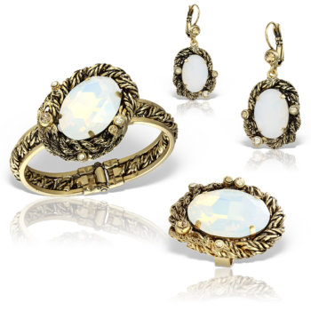 Set bijuterii handmade antichizate placate cu aur de 24K Blanca 25