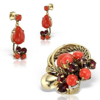 Set bijuterii handmade antichizate placate cu aur de 24K Coral 17