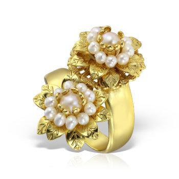 Inel handmade antichizat accesorizat cu perle AN1 31