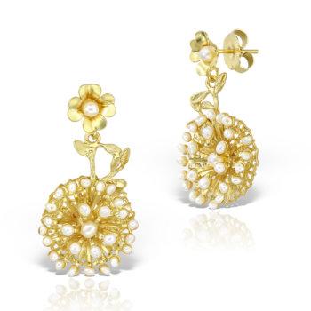Cercei handmade antichizati accesorizati cu perle naturale MHOR271 18