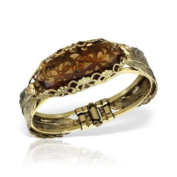 Bratara handmade antichizata placata cu aur 24 K si efect 3D BCC50034 11
