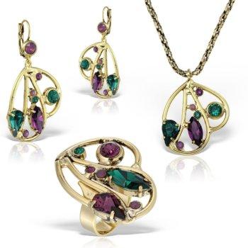 Set bijuterii handmade antichizate placate cu aur de 24K Charm 13