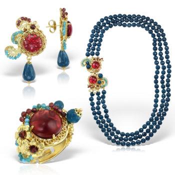 Set handmade antichizat accesorizat cu pietre semipretioase Eleganza 5